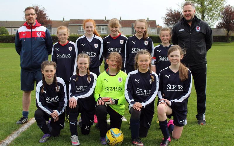 Raith Rovers Girls U13s are pictured in their new strips
